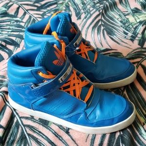 ADIDAS Blue Orange Hi Top Sneakers Sz 13
